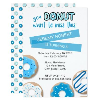 Donut Want to Miss | Boys Birthday Invitation - birthday cards invitations party diy personalize customize celebration