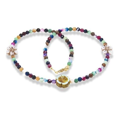 Handmade Gemstone Necklace Multicolor Agate Purple Green - Anthos Crafts - 1