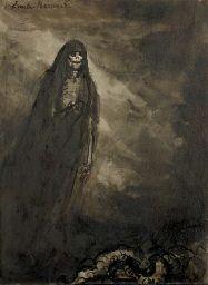 EMILE BERNARD (1868-1941) -  La Mort (Elle allait comme l'algue erre...) - Dessin