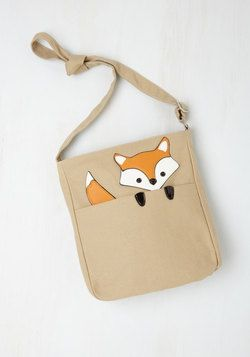 Got One Friend in My Pocket Bag in Fox. Keep your favorite critter pal nearby with this canvas messenger bag. #tan #modcloth