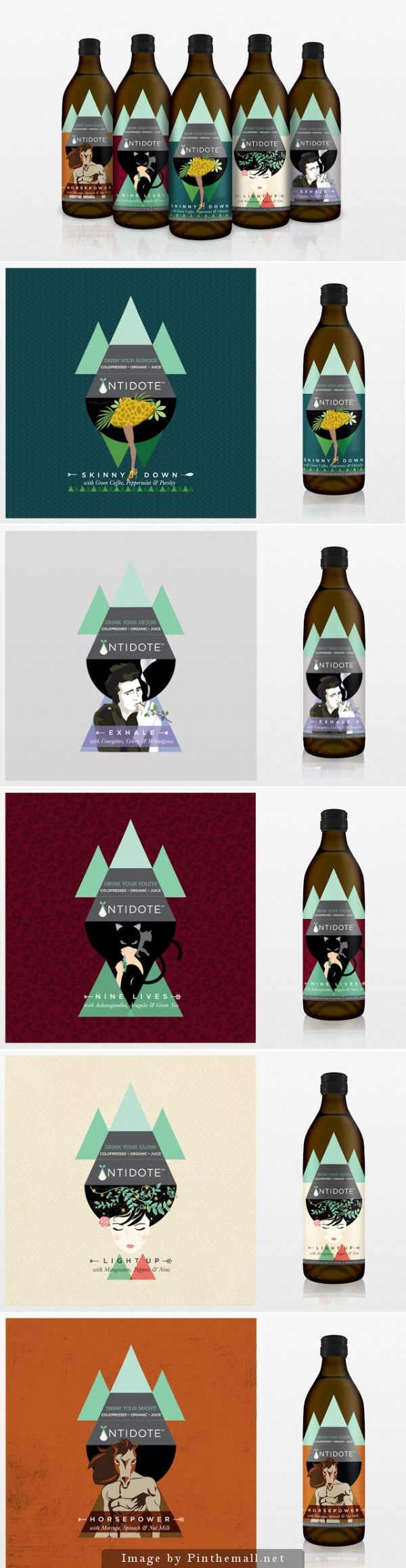 Love these #packaging designs for Antidote cold-pressed organic juices designed by Sargam Gupta PD