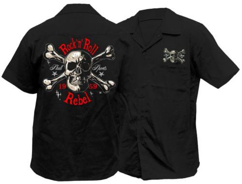 Timeless Clothing Skull Sports Rock N Roll Rebel Mens Work Shirt Rockabilly
