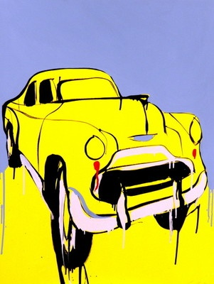 "JASPER KNIGHT ""Buick (Study)"" Car, Original Acrylic on Card, Framed. Image Size: 101cm x 75cm  Frame Size: 110cm x 83cm (Housed in Black Gallery Frame - Beautiful)"