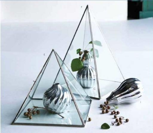Glass Metal Pyramid Display Case Terrarium Jewelry Case Tall 16 5"