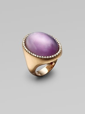 Roberto Coin: Amethyst, Diamond & 18K Rose Gold Ring