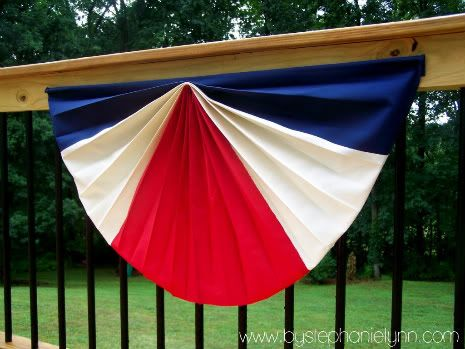 I'm a little passionate about the Red, White, and Blue…I ♥ the USA. I have wanted flag swag buntings forever. The problem ~ I didn't want just one…I wanted like 10 {and at $20+ a piece they have never seemed to make it into my budget} With our deck finally completed, I knew I had …