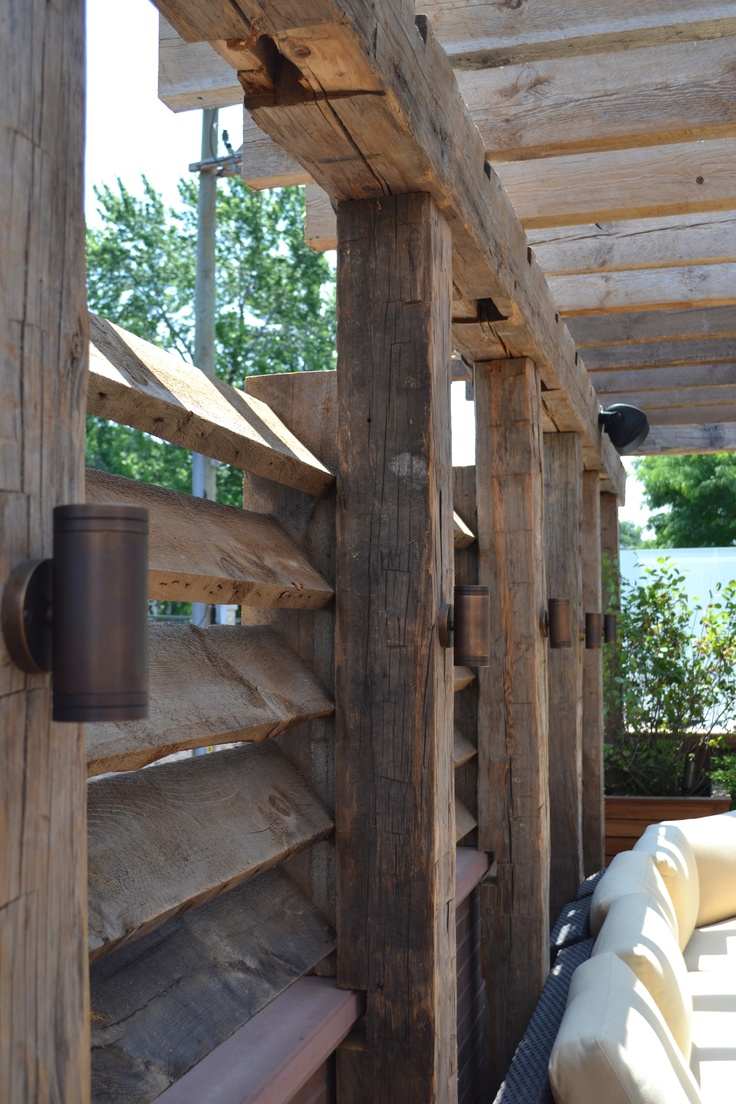 Chicago -  Reclaimed Timber Pergola with Louvered Slats and Glass Panels, Built in Tali Planters with Ornamental Trees/Grasses/Boxwood/Perennial Grasses, and Lighting