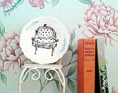 Illustrated Vintage Plate, Upcycled, Antique Chair - Hand Drawn by Yvonne Mukauskas
