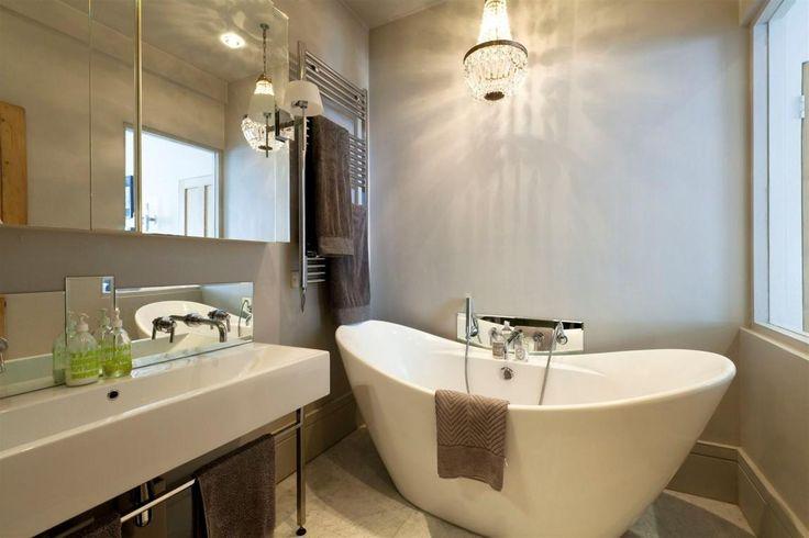 Small Bathroom Decoration Ideas With Crystal Chandelier Above Bathtub Including Towels Rail