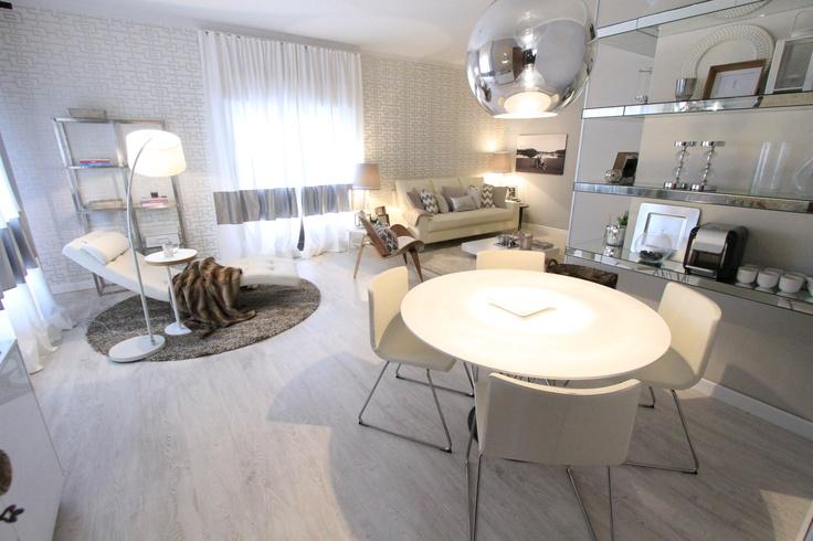 grey, white, vintage design furniture, mirrored shelves,