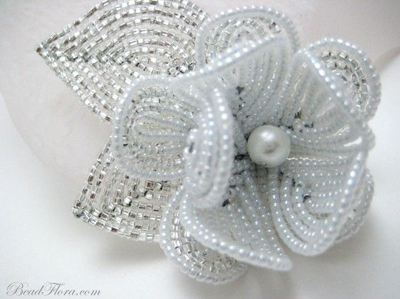 hair clip, here comes the bride - French fantasy beaded flower hair clip / fascinator- great for the bride or bridesmaid #brigteam