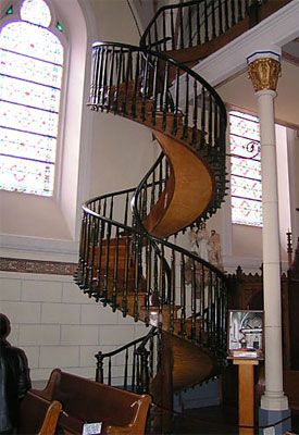 Santa Fe, New Mexico -ledgend has it that the nuns who built the church were running out of money and skilled labor to complete thier church - from out of the desert came a carpender who built these stairs with no visable support and he vanished when the project was completed