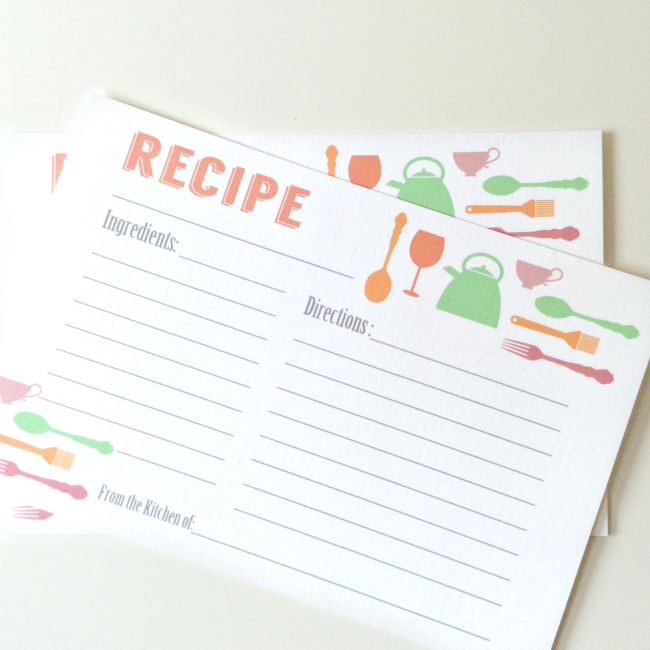 Free Downloadable Recipe Cards for Kids Party Supplies
