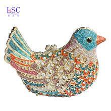 2016 popular de luxo sacos de noite Sparkly cristal mulheres de embreagem sacos coloridos padrão pássaro senhoras jantar sacos garras bolsa SC035(China (Mainland))