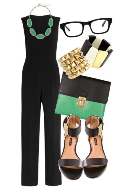Maybe not so much a jumper black slacks and black top with green and gold accessories