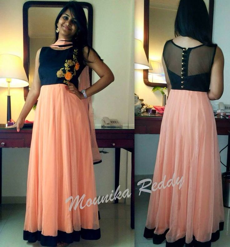 Peach and black full length gown