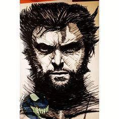WOLVERINE HUGH JACKMAN! Another fast drawing . . . #wolverine #logan #hughjackman #xmen #marvel #magneto #x23 #lobezno #charlesxavier #professorx #ink #dark #superhero #deadpool #markers #artcollective #artsupplies #artlife #drawing #draw #drawings #worldofnerdart #artshelp