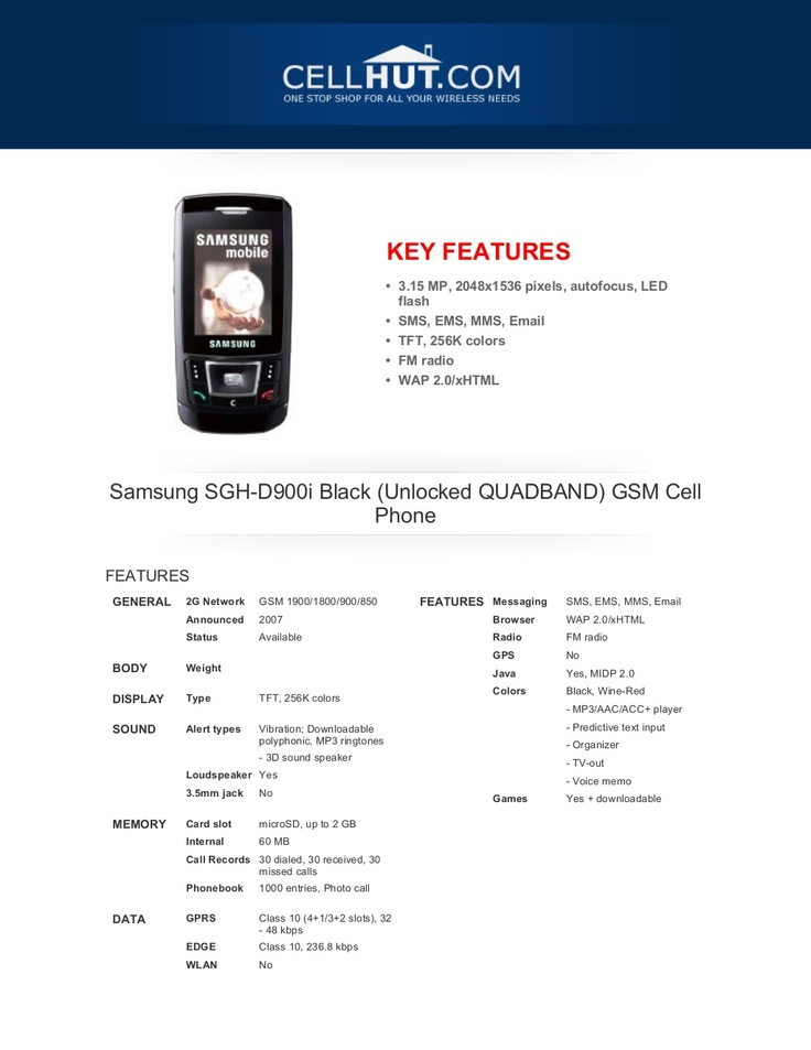 samsung-sghd900iblackunlockedquadbandgsmcellphone-brochure4171 by Cellhut via Slideshare