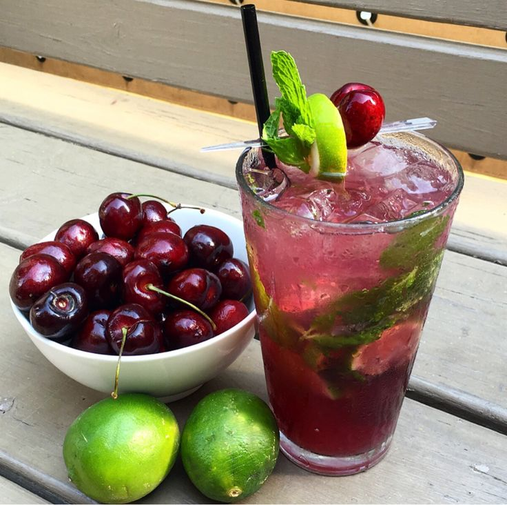 Black Cherry Mojito 2 oz Bacardi White Rum .5 oz Simple Syrup .5 oz Monin Black Cherry Pureè 6 Mint Leaves 4 Lime Wedges Top with Club Soda Muddle Mint leaves, Limes and Simple Syrup in a pint...