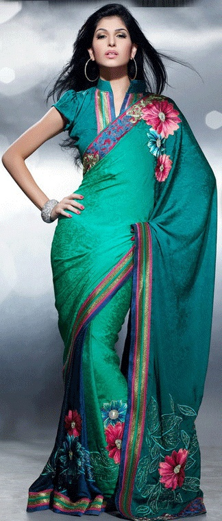 Extraordinary shaded green jacquard saree with blouse
