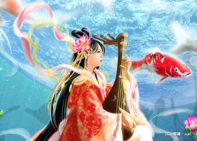 琵琶と金魚3