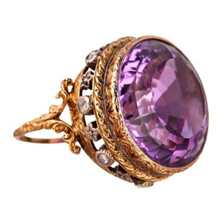 BUCCELLATI Amethyst Rose Cut Diamond Ring  Italy 1900  [not so sure about this description to me it looks like a rose cut amethyst ring with diamonds]