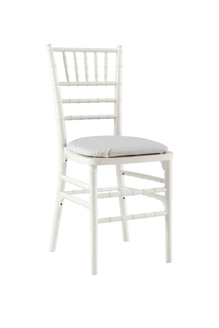 White Chivari with White Seat Pad, Is a modern design stackable eco-friendly resin chair, shown here with a White seat pad but is also available in various coloured seat pads. http://www.eventhireonline.co.uk/chairs/chivari