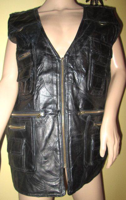 Mens Vintage Leather Patchwork Vest.  Vintage by MISSVINTAGE5000