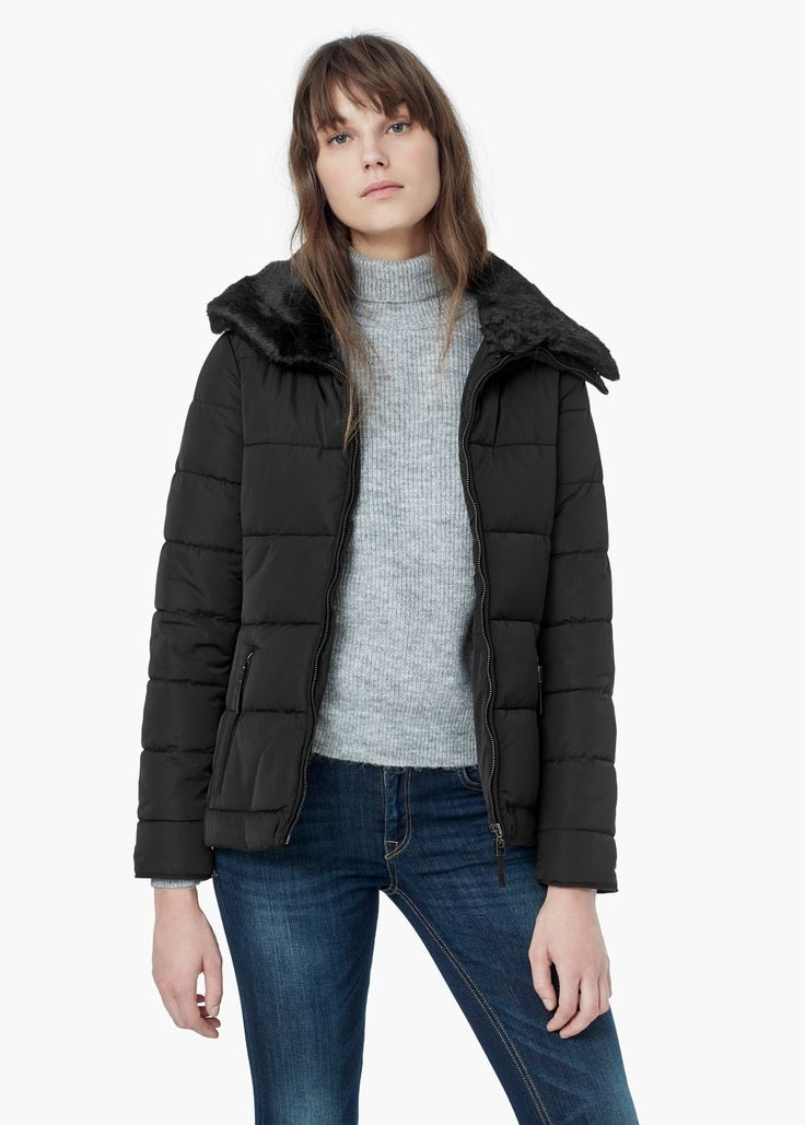 Side-zip quilted coat -  Women | MANGO