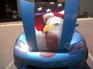 The paint job on this 2009 Corvette is truly amazing. #corvette #america #eagle #patriotic #speedshopstore #caeperformance