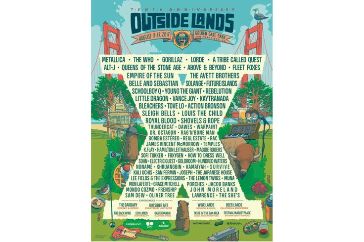 Gorillaz Lorde Metallica A Tribe Called Quest to Headline Outside Lands 2017