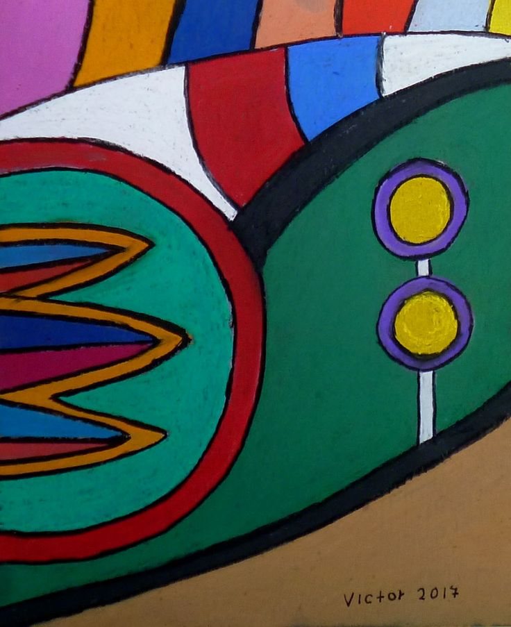 Abstrakt 524, pastell. Abstract 524, pastel.
