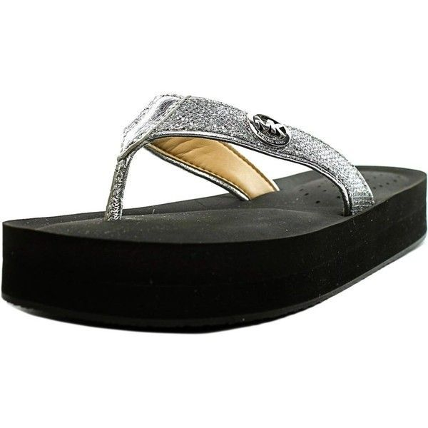 Michael Michael Kors Michael Michael Kors Gage Flip Flop Women... ($49) ❤ liked on Polyvore featuring shoes, sandals, flip flops, silver, open toe flip flops, silver flip flops, silver low heel shoes, small heel sandals and open toe shoes