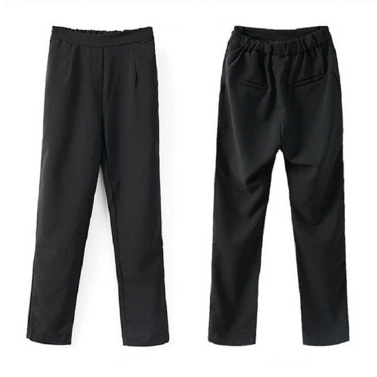 Women Pants 2015 Spring Summer Slim Thin Elegant OL Office Black Formal Pants Woman Straight Trousers Plus Size A963