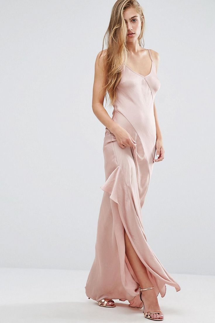 A babein' bias-cut cami dress in oyster shell pink: yes please x1,000, Miss Selfridge. Coming soon to ASOS