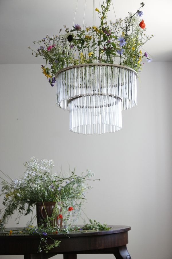 Test tube chandelier by Pani Jurek: Lights Fixtures, Wedding Decor, Flowers Chandeliers, Fresh Flowers, Test Tube, Test Tubs, Gardens Parties Wedding, Tube Chand, Wild Flowers