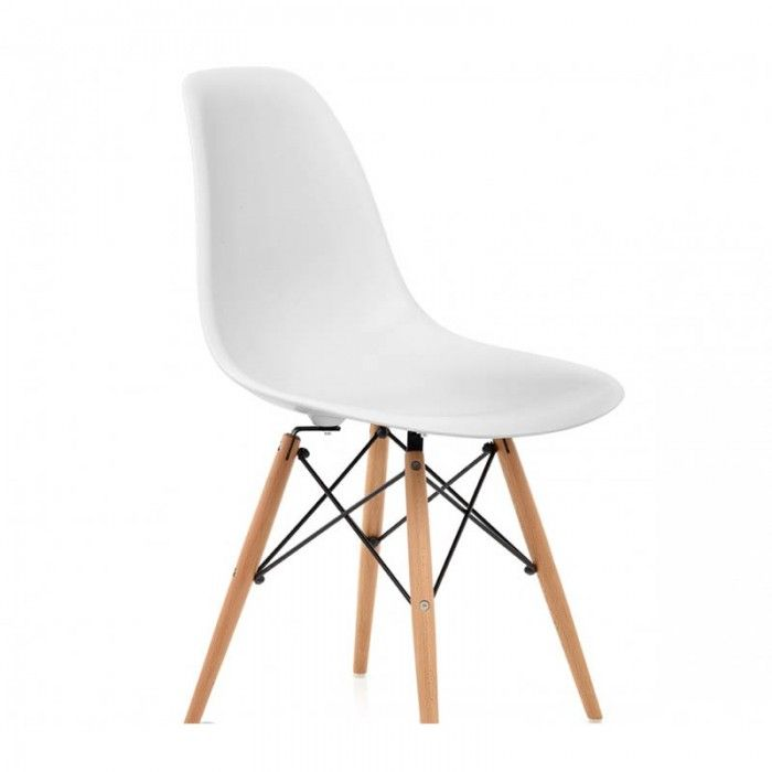 Eames DSW Dining Chair Replica - Wooden Base - White - Set of 4
