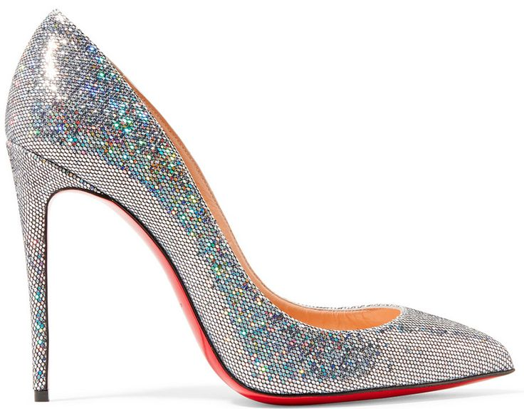 Heel measures approximately 4 inches Silver glittered leather Slip on Made  in Italy Small to size. See Size \u0026 Fit notes. Christian Louboutin ...