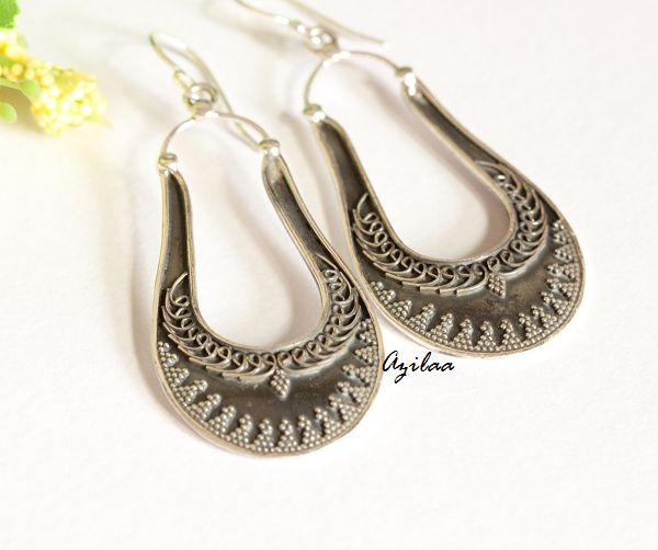 Ethnic artisan sterling silver earrings