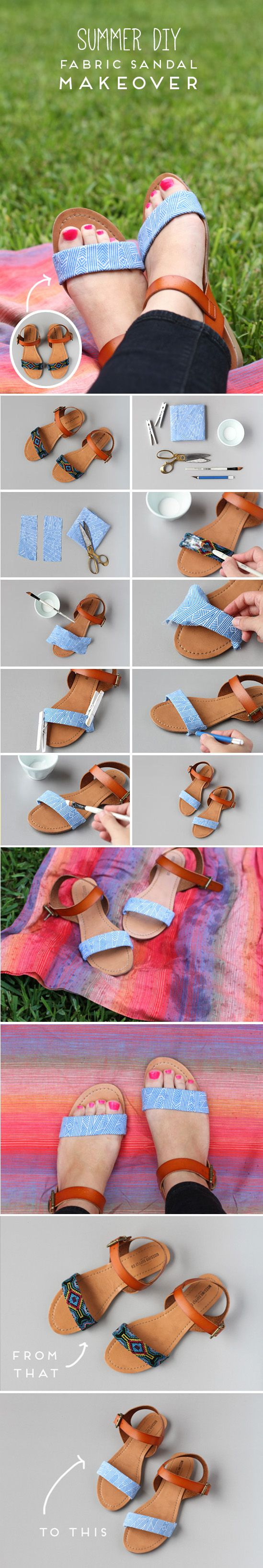 Sandalias renovadas con piezas de tela / de Paper and Stitch