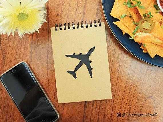 Aeroplane Notebook  Voyage Spiral Notepad  Travel Hardcover