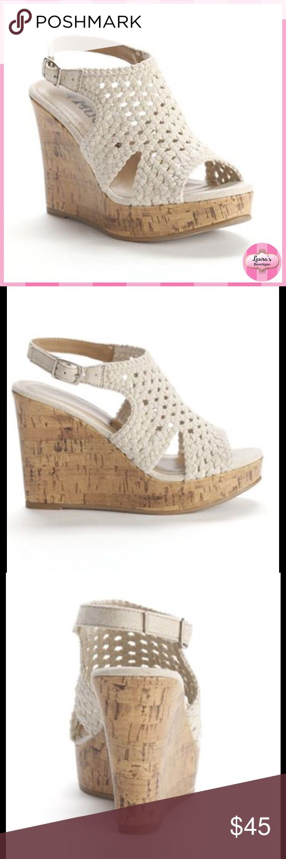 LAST‼️ MUDD Cream Crochet Wedge Sandals HP NWT (IN BOX) Mudd cream crochet wedge sandals are the season's must-have!  *Crochet upper *Fabric upper *Manmade lining *Fabric/TPR outsole *Open toe *Buckle closure *Padded footbed *4 1/8-in. heel  *Bundle Discounts * No Trades * Smoke free Mudd Shoes Wedges