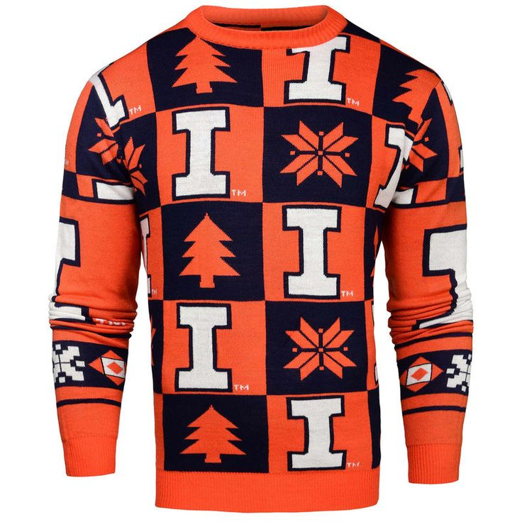 Illinois Fighting Illini Patches Ugly Pullover Sweater - Navy