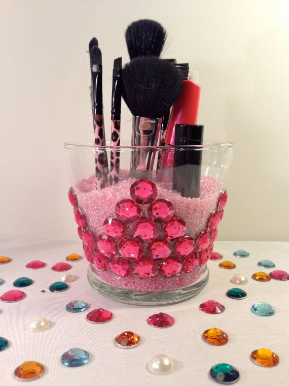 Makeup brush holder Princess pink crown by OrganizeYourBeauty, $17.00 ... can easily DIY this!
