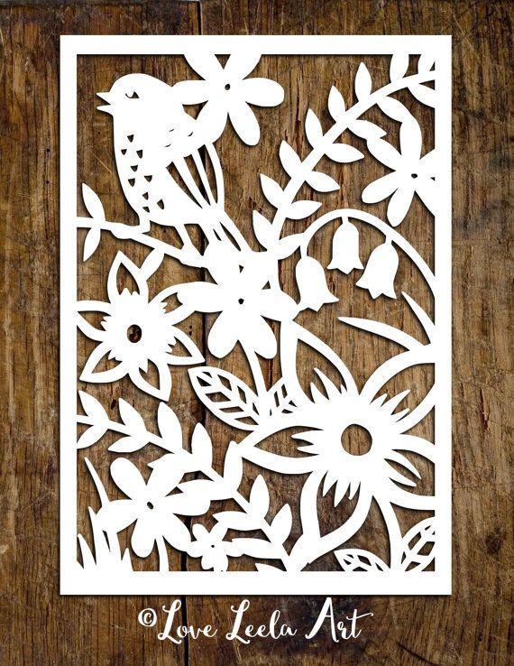 PERSONAL USE Papercutting Template - Flower Garden - Paper Cut Design by Love Leela Art