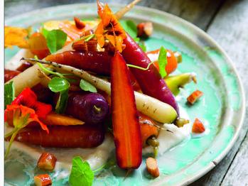 Heirloom Carrot Salad, Yogurt, Almond & Honey Dressing