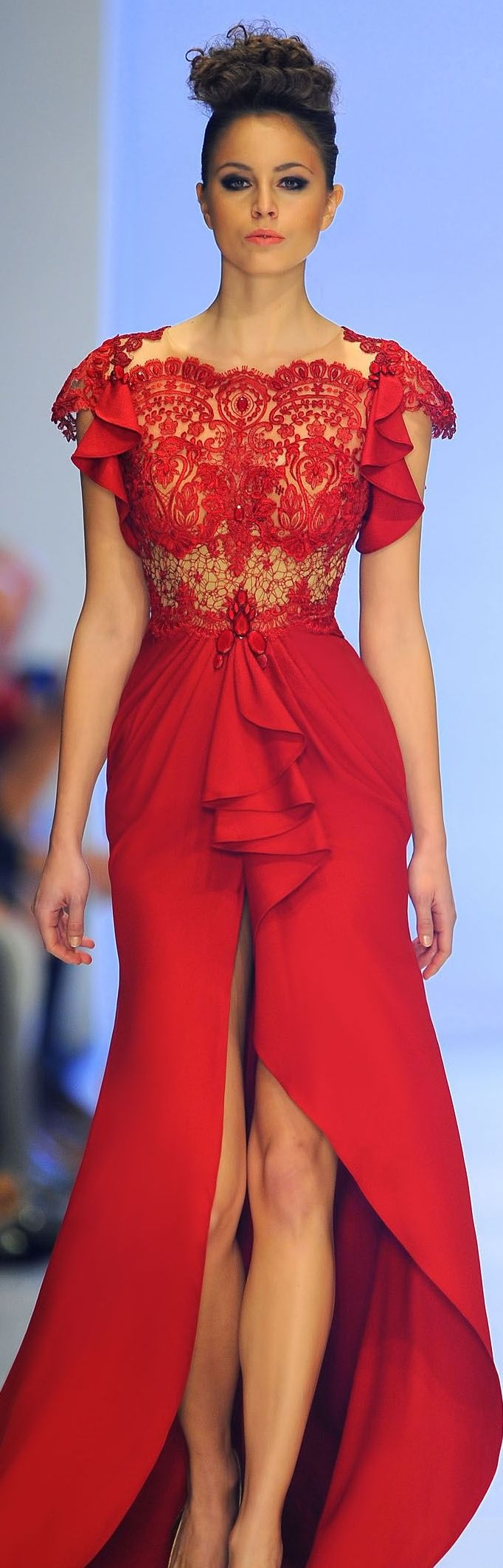 Red dress. If I could all of my bridesmaids would wear this! But, I wouldn't want the bottom to be so opened in the front.
