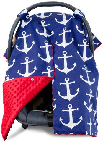Nautical Anchor Car Seat Canopy with Red Dot Minky and Peekaboo Opening™