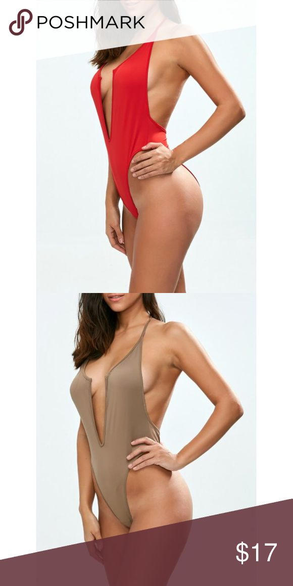 Red or brown one piece bathingsuit -Red one piece swimsuit (Large) -Tan (1 small and 1 medium) -Bra style unlined -0.1900 kg weight -Natural bust -One piece with plunging neckline and backless  -cotton and polyester  -micro elastic.  Made in China Swim One Pieces