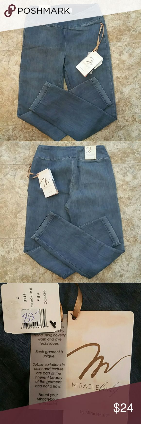 """NWT Miraclebody jeans NWT beach wash blue, pull on crop. No pockets, no zippers or buttons.  27 1/2"""" inseam. Miraclesuit Jeans Ankle & Cropped"""